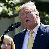 Le président américain Donald Trump dans la roseraie de la Maison Blanche, le 14 juin 2019. (AP /Jose Luis Magana)