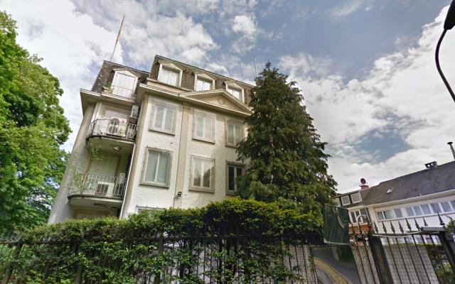 L'ambassade d'Israël à Uccle, en Belgique. (Crédit photo : capture d'écran Google Maps)