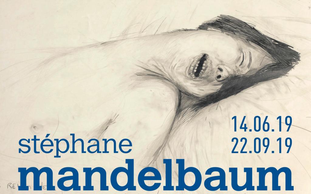 Affiche de l'exposition de Stéphane Mandelbaum, du 14 juin au 22 septembre 2019 au Musée juif de Bruxelles, reprenant le dessin «L'Empire des sens» de l'artiste.