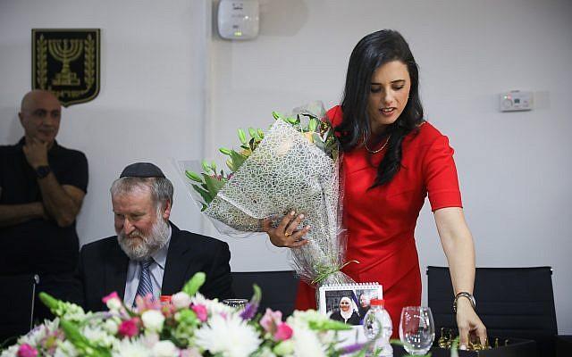 Ma ministre de la Justice Ayelet Shaked au cours de la cérémonie organisée pour son départ dans les bureaux du ministère de la Justice, le 4 juin 2019 (Crédit : Hadas Parush/Flash90)