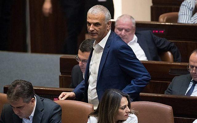 Le ministre des Finances Moshe Kahlon à la Knesset, le Parlement israélien, le 12 juin 2019. (Crédit : Yonatan Sindel/Flash90)