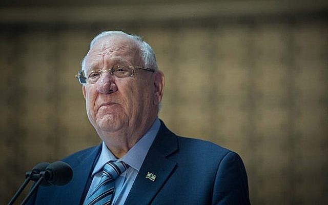 Le président Reuven Rivlin lors d'une cérémonie à la mémoire des soldats israéliens tués au Liban à Jérusalem, le 19 juin 2019 (Crédit : Noam Revkin Fenton/FLASH90)