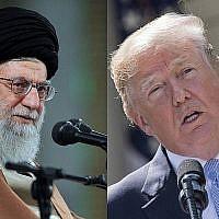 Le chef suprême iranien, l'Ayatollah Ali Khamenei à Téhéran, à gauche, et le président Donald Trump à la Maison Blanche (Crédit : Crédit : Bureau du chef suprême iranien via AP, AFP PHOTO / JIM WATSON)
