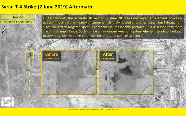Des photos par satellite diffusées par ImageSat International montrent la base T-4 après qu'elle a été prise pour cible par des frappes aériennes attribuées à Israël près de Palmyre, le 2 juin 2019 (Crédit :  ImageSat International)