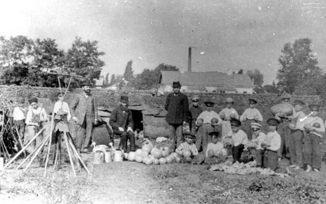 Les élèves d'une école juive dans le jardin potager de l'école à Poltava, en Ukraine, avant 1917  (Crédit : Yad Vashem/YVA Photo Collection 4147/55)