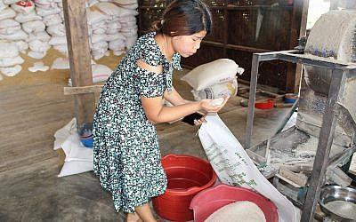 Zenan Sumlut examine du riz dans un moulin à riz qu'elle gère, à Kachin, en Birmanie. (Crédit : Emily Fishbein/Times of Israel)