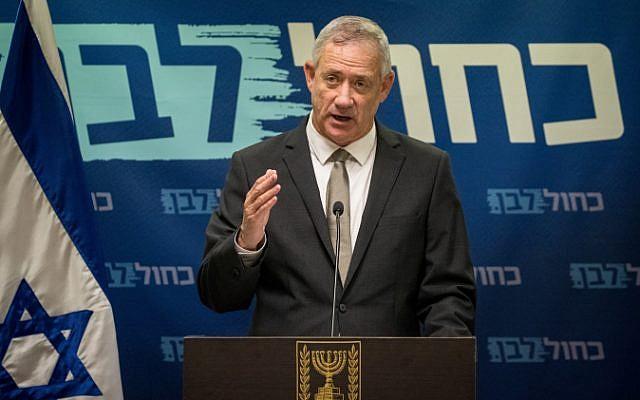 Le chef du parti Kakhol lavan Benny Gantz à la Knesset, le 3 juin 2019. (Yonatan Sindel/Flash90)
