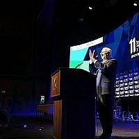Le président Reuven Rivlin s'exprime à la 11ème cérémonie annuelle du prix des Enseignants nationaux, tenue à l'Université de Tel Aviv, le 13 juin 2019. (Kobi Gideon/GPO)