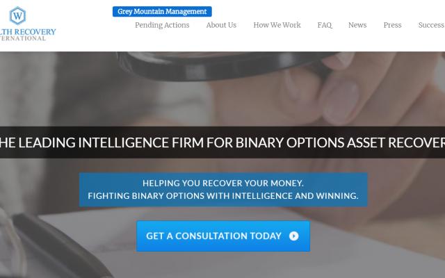 Une capture d'écran de la page d'accueil de Wealth Recovery International, comme elle apparaissait le 10 juin 2019.
