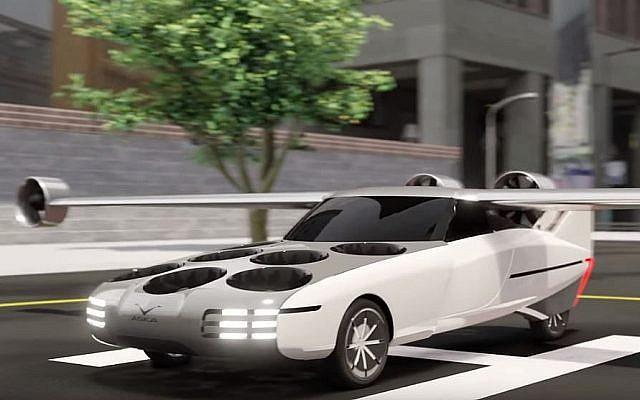 New Future Transportation (NFT), une entreprise mari et femme, a dévoilé le design de sa voiture volante à l'exposition EcoMotion à Tel Aviv, le 11 juin 2019. (Capture d'écran YouTube)