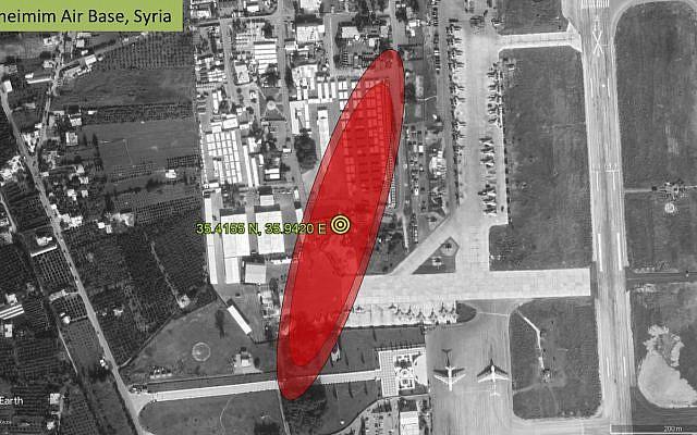 La source d'un signal interférant avec la réception GPS pour les avions survolant Israël, situé sur la base aérienne russe de Khmeimim en Syrie occidentale, d'après une présentation de l'ingénieur aérospatial Todd Humphreys au gouvernement américain en juin 2019. (Autorisation)