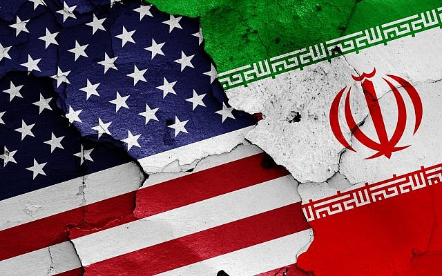 Illustration : drapeaux américain et iranien. (Crédit : iStock)