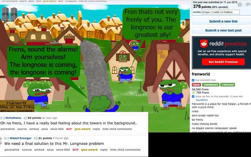 Exemple d'un post populaire sur le subreddit, avec des commentaires faisant référence aux caricatures nazies des juifs, à la solution finale et aux théories du complot antisémites entourant le 11 septembre (Capture d'écran : Reddit)
