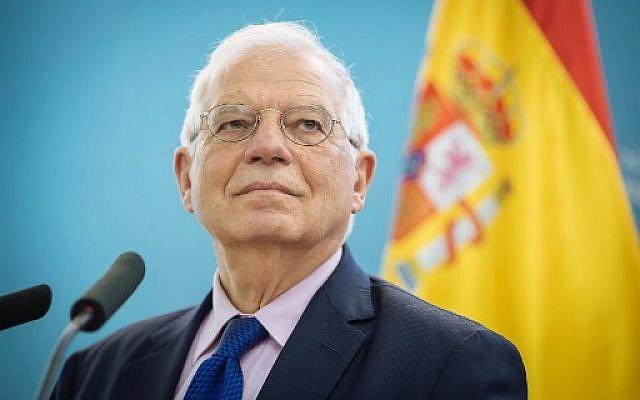 Le ministre des Affaires étrangères espagnol Josep Borrell, le 9 avril 2019. (Crédit : Jure Makovec / AFP)