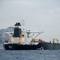 Le supertanker Grace 1 iranien, au large de Gibraltar, arraisonné le 4 juillet 2019 par les autorités britanniques. (Crédit photo : JORGE GUERRERO / AFP)