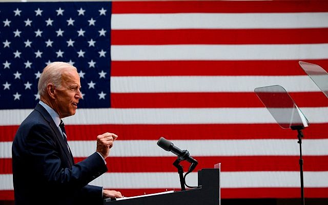Joe Biden, le principal candidat démocrate à la présidence pour 2020, prononce un discours sur sa vision de la politique étrangère américaine au Graduate Center de la City University of New York, à New York, le 11 juillet 2019. (Johannes Eisele/AFP/Getty Images)