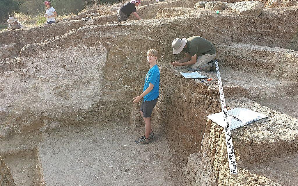 Le mur en brique de 3000 ans avec du plâtre et une embrasure de porte découverts pendant les fouilles réalisées pendant l'été 2019 dans le cadre du Projet archéologique Tell es-Safi/Gath. (Crédit : Aren Maeir/Tell es-Safi/Gath Archaeological Project)