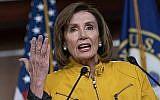 La présidente de la Chambre, Nancy Pelosi, prend la parole lors d'une conférence de presse au Capitole à Washington, le 13 juin 2019. (AP Photo/J. Scott Applewhite)