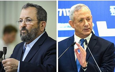 Ehud Barak, à gauche, et le leader de Kakhol lavan Benny Gantz (Crédit : Flash90)
