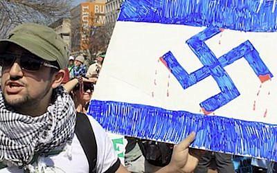 A titre d'illustration : Capture d'écran d'un homme tenant une croix gammée lors d'un événement marquant le Yom HaAtsmaout, Jour de l'indépendance d'Israël, à l'Université du Wisconsin-Milwaukee. (Twitter)