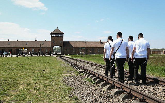 Participants à la Marche des vivants au camp d'Auschwitz-Birkenau, en Pologne, alors qu'Israël célèbre la Journée annuelle de Yom HaShoah, le 1er mai 2019. (Yossi Zeliger/Flash90)