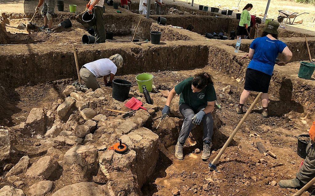 Des bénévoles sur le site du Projet archéologique Tell es-Safi/Gath, au mois de juillet 2018 (Crédit : Amanda Borschel-Dan/Times of Israel)