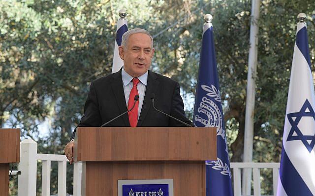 Le Premier ministre Benjamin Netanyahu prend la parole lors d'une cérémonie en l'honneur des unités de réserve de l'armée israélienne, le 1er juillet 2019. (Amos Ben-Gershom / GPO)