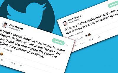 """Elliot Resnick, rédacteur en chef de The Jewish Press, a qualifié les religions Africaines de """"primitives"""" et mis en doute l'existence des nationalistes blancs (Capture d'écran :   Twitter)"""