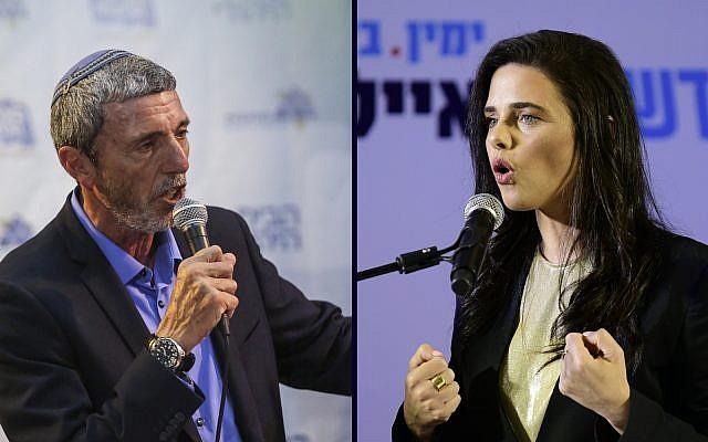 Le leader de l'Union des partis de droite  Rafi Peretz, à gauche, et la responsable de HaYamin HaHadash  Ayelet Shaked. (Crédit : Flash 90)
