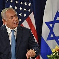 Le Premier ministre Benjamin Netanyahu s'exprime lors d'une réunion avec le président américain Donald Trump (hors du cadre) le 26 septembre 2018 à New York, en marge de l'assemblée générale des Nations unies. (AFP Photo/Nicholas Kamm)