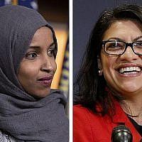 On voit sur ces deux photos de 2018 les élues démocrates Ilhan Omar (du Minnesota), à gauche, et Rashida Tlaib (Michigan), à Washington. (AP Photo/Carolyn Kaster)