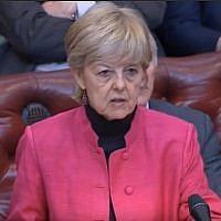 La baronne Hayter s'exprime à la Chambre des Lords lors d'un débat sur le projet de loi de sortie de l'Union européenne au parlement britannique le 4 avril 2019. (capture d'écran: YouTube)