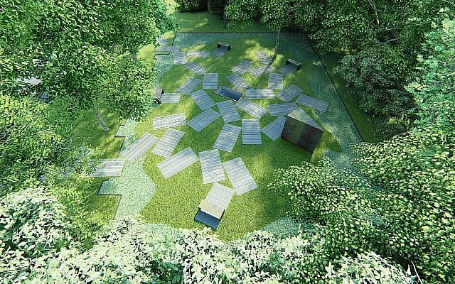 Plan représentant le parc mémorial sur le site de l'ancienne Grande Synagogue d'oswiecim, en Pologne, qui doit ouvrir en novembre 2018. Crédit: centre juif d'Auschwitz)