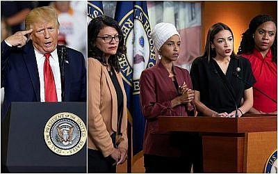 (gauche) Le président américain Donald Trump s'exprime lors d'une meeting de campagne à Greenville en Caroline du nord le 17 juillet 2019. (AP/Gerry Broome) (droite) A partir de la gauche, l'élue Rashida Tlaib,, l'élue Ilhan Omar, l'élue Alexandria Ocasio-Cortez, et l'élue Ayanna Pressley, s'expriment lors d'une conférence de presse commune à Washington le 15 juillet 2019. (AP Photo/J. Scott Applewhite)