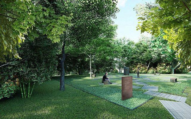 La représentation du parc mémorial sur le site de la Grande Synagogue à Oswiecim, en Pologne (Crédit : Centre Juif d'Auschwitz)