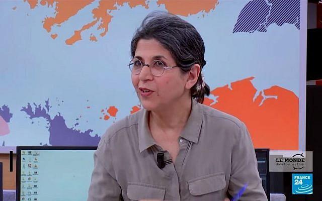 Fariba Adelkhah, directrice de recherche à Science-Po, en février 2019 sur le plateau de France 24. (Crédit photo : Capture d'écran / France 24)