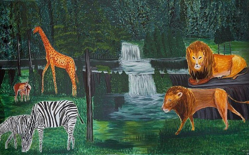 """""""Tropical Rain Forest"""" peinte par Tsegay Berhe au centre de détention de Holot en 2016. (Miriam Alster/Flash90)"""