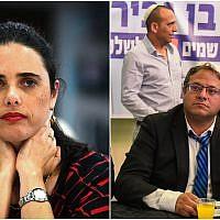 A gauche, la ministre de la Justice Ayelet Shaked lors d'une cérémonie à Tel Aviv, le 12 juin 2019 (Crédit : Flash90). A droite, le membre du parti Otzma Yehudit Itamar Ben Gvir au cours d'une campagne électorale à Bat Yam le 6 avril 2019 (Crédit : Flash90)