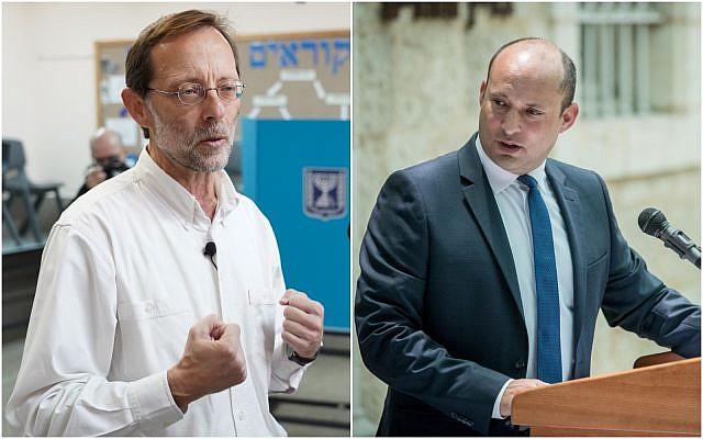 A gauche : le chef du parti Zehut Moshe Feiglin dépose son bulletin dans l'urne du bureau de vote de l'implantation de Karmei Shomron, le 9 avril 2018. (Crédit : Hillel Maeir/Flash90). A droite : Naftali Bennett, ancien ministre de l'Education, lors d'une conférence le 26 juin 2019. (Crédit : Yonatan Sindel/Flash90)