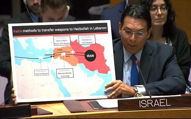 L'ambassadeur israélien aux Nations unies Danny Danon s'exprime devant le Conseil de sécurité à New York, le 23 juillet 2019 (Autorisation : Mission israélienne à l'ONU)