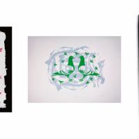 Des œuvres réalisées par des réfugiées syriennes et exposées à la gare de Strasbourg. De gauche à droite : Emine D. Maison en fleurs 2 / Houses with flowers 2, 2018. Emine N. Play / Play, 2018. Emine N. Porte vers le futur / Door to the future, 2018.