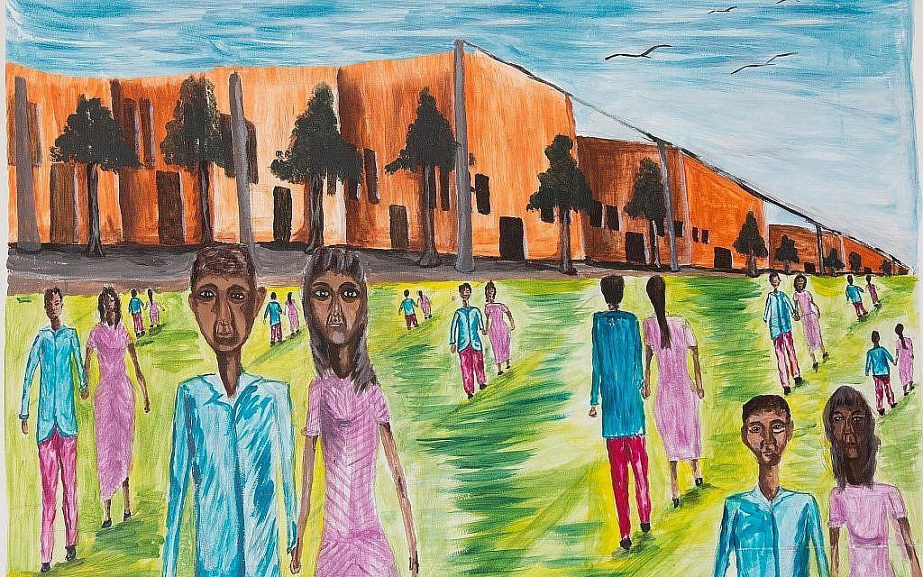 """La """"Pause thé à l'école"""" de Tsegay Berhe, peinte au centre de détention de Holot en 2016. (Miriam Alster/Flash90)"""