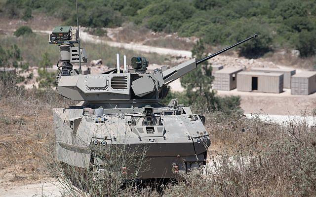 Illustration : Un prototype de char conçu par Elbit Systems dans le cadre du programme Carmel du ministère de la Défense, testé le 4 août 2019. (Crédit : ministère de la Défense)