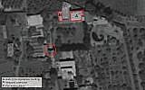 Une image satellite de la petite base située dans la ville syrienne d'Aqrabah depuis laquelle l'Iran prévoyait d'envoyer des drones chargés d'explosifs dans le nord d'Israël, d'après l'armée, août 2019. (Crédit : armée israélienne)