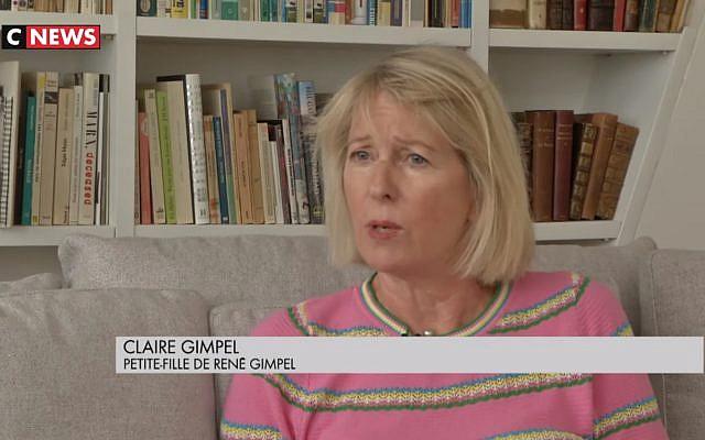 Claire Touchard, la petite-fille du collectionneur René Gimpel, dont les biens ont été saisis par les nazis. (Crédit : capture d'écran YouTube)