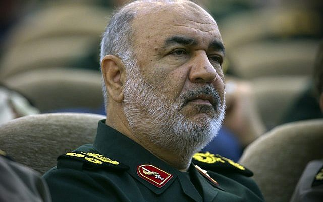 Le général Hossein Salami, commandant des Gardiens de la révolution, assiste à une réunion à Téhéran, en Iran, le 24 avril 2019. (Sepahnews via AP)
