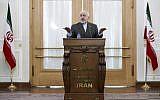 """Le ministre iranien des Affaires étrangères  Mohammad Javad Zarif s'exprime lors d'une conférence de presse à Téhéran , en Iran, lundi 5 août 2019. Zarif a fustigé les récentes sanctions américains qui le visent, qualifiant la décision """"d'échec"""" de la diplomatie en pleines tensions dans le Golfe persique. (AP Photo/Ebrahim Noroozi)"""