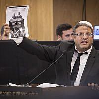 Le dirigeant d'Otzma Yehudit, Itamar Ben Gvir, défend son parti lors d'un débat du Comité central des élections, le 14 août 2019. (Hadas Parush / Flash90)