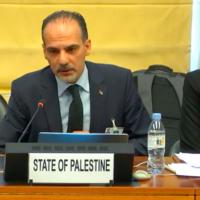 Des responsables palestiniens lors de la 99e session du Comité des Nations unies pour l'élimination de la discrimination raciale à Genève, le 14 août 2019. (Capture d'écran de la Web TV de l'ONU)