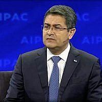 Le président hondurien Juan Orlando Hernandez lors de la conférence politique de l'AIPAC à Washington, le 24 mars 2019. (Capture d'écran/AIPAC)